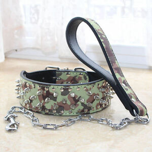 New Spiked Studded Leather Pet Dog Collar Leash Sizes S M L XL Pit Bull Mastiff