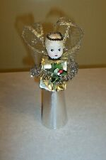 Vintage Christmas Gold & Silver Angel Paper Face with Feather Hair