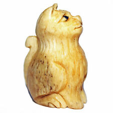CARVED ANTIQUED BONE BEAD KITTY CAT SITTING 2 BEADS 32X22MM CATS B7