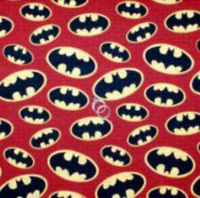Fabric Cotton BTHY By The Half Yard DC Super Friends Batman symbols Red Brick