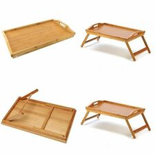 Foldable Natural Wooden Breakfast Serving Lap Tray Over Bed Laptop Mini Table