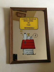 """Snoopy Peanuts Vintage Retro Mirror """"I hate people who sing in the Morning""""1970s"""