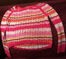 Justice Brand Girls Sweater Long Sleeve Crochet Size 10 Pink White Orange Yellow