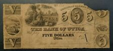 The Bank of Utica Michigan $5 Obsolete Note LEE 1.4 Very Rare!