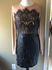 Venus Faux leather bodycon party dress Lace illusion 12 nude black lined New