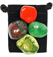CREATIVITY BOOST Tumbled Crystal Healing Set = 4 Stones + Pouch + Card