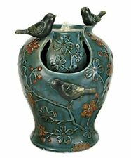 Nature's Garden Verdigris Songbird Fountain with Led Light, Blue Free2Dayship