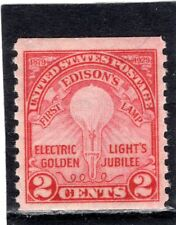 Us Scott #656 Very Fine Mint Lightly Hinged Electric Light Rotary Coil Stamp.