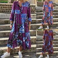 ZANZEA Women Wrap Floral Printed Paisley Maxi Dress Casual Loose  Kaftan Dresses