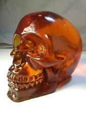 "Handmade Custom 3"" Solid Clear Amber Resin Skull Figure designer art toy macbre"