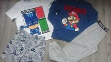 2x BUNDLE SUPER MARIO CAT BOY PYJAMAS SET LONG SLEEVE TOP BOTTOM 9/10 YRS