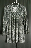 Christopher&Banks Size XL Sparkly Sequins on Black White Accordion Pleated Top