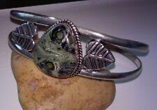Bangle Bracelet - 26.6 grams Ocean Jasper Silver Plated Leaf Design