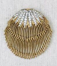 Vintage Trifari Rhinestone Clam Shell Pin Brooch