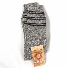 Minnesota Custom Woolens Angora Merino Wool Blend Socks Black Stripe New L 10-12
