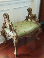 Old Italian Rococo style carved giltwood Bench w/ figural Puttis floral & scroll