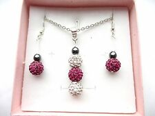 1- 3 Beads Shamballa Necklace & Dangling Earrings Set 4 Parties Holidays / Gifts