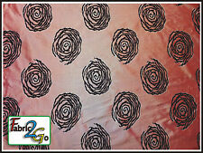 Modern Salmon Pink & Black Chenille Satin Curtain Upholstery Fabric Flower Motif