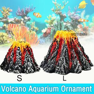 Fish Tank Ornament Decoration Volcano Shape Aquarium Air Bubble Stone Rockery