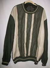 BAGAZIO Retro LEATHER FRONT Lined Pullover Sweater Dark Green/Cream Size Large