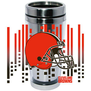 Cleveland Browns Logo Travel Mug Tumbler Stainless Steel NEW Clear Insert