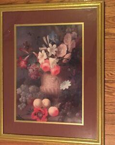 Floral Picture Planter w/ Face Home Decor Gold Wood Frame Burgundy Mat Art Print