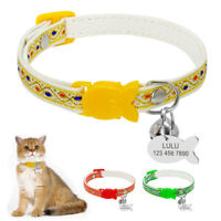 Nylon Cat Collar Personalised ID Tag Optional Safety Cat Collars with Bell