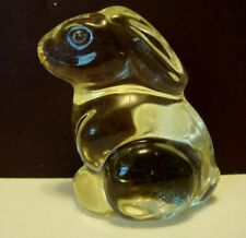 Vintage Solid Glass Bunny Rabbit Hare Figurine Paperweight Olive Green Color