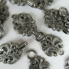 Lot of 6 Pairs Pewter Filigree Clasps Frogs Nordic Sweater Hook Eye Buckles Cape