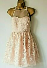 BNWT Lipsy Nude Organza  Christmas Party Dress Wedding Cruise 10 12 See Size New