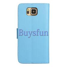 Bocov Light Blue Card Slot Leather Wallet Case For Samsung Galaxy Alpha G850