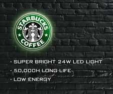 More details for starbucks coffee led illuminated sign, wall mounted light box for garage, shop