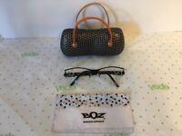 BOZ Eyeglass Frames Rolls 0022 Black Turquoise Blue RX 52-18 135  Case