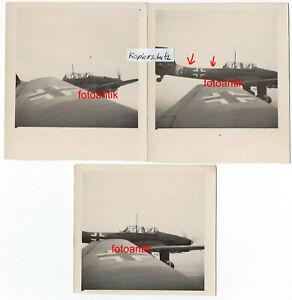 Foto 2 WK 3x Flugzeug JU 87 Stuka mit Kennung auf Feindflug Super Details