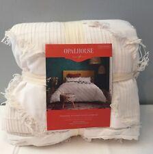 Opal House White Diagonal Textured Duvet & Sham Set, Full Queen, NEW
