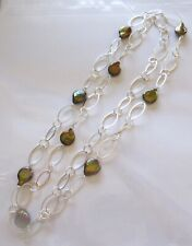 Fresh Water Pearl Necklace silver color oval links- brown gold pearls-42""
