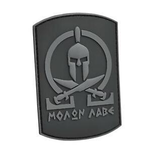 spartan shield molon labe PVC blackout milspec army morale fastener patch