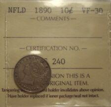 Canada Newfoundland 1890 Silver 10 Cents - ICCS VF-30