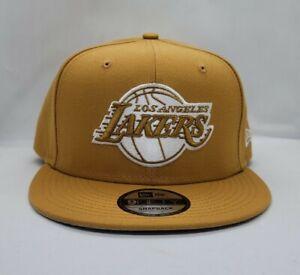 NEW ERA 9FIFTY ADJUSTABLE SNAPBACK HAT.  NBA.  LOS ANGELES LAKERS.   PANAMA TAN.