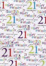 MASCHIO 21ST Compleanno 2 Donna fogli di carta da pacco regalo Wrap ETICHETTE +1 1STP&P