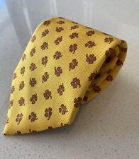 Ermenegildo Zegna Silk Tie Yellow w Brown Flowers Floral