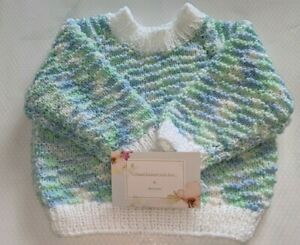 Baby's hand knitted pullover / jumper 3-6 months