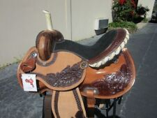 New listing 16 Round Skirt Western Barrel Racing Show Pleasure Ranch Leather Horse Saddle
