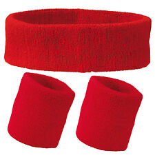 Red Set of Unisex Sports Sweatband Head and Wrist Bands Gym Cycling Tennis