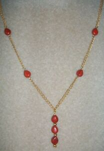 Red Jasper Gemstone and Gold Plated Chain Necklace