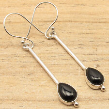 925 Silver Plated Over Solid Copper ! Drop BLACK ONYX Stone Earrings
