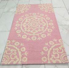 Pottery Barn McKenna Girls Pink White Star Medallion 3D Raised WOOL Rug Carpet