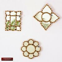 Small Gold Accent Mirror set 3 for Wall- Decorative Collection set mirror of 6in