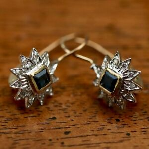 Astral 14k Gold, Sapphire and Diamond Earrings: Museum of Jewelry