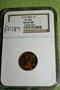 #A1589-103,1972 DDO MS 63 RB Lincoln Penny NGC Scarce Coin
